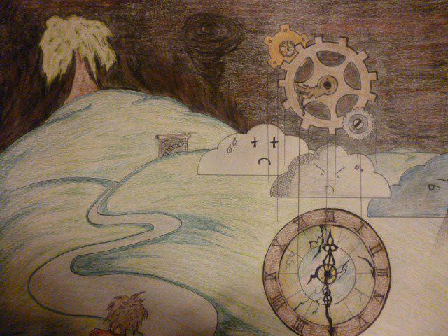 Dessin d'un paysage, de nuages pleurant et de rouages d'horloge dans le ciel, ce dernier très sombre